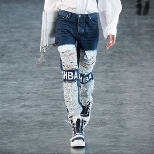 HBA Shredded Rear Zipper Jeans